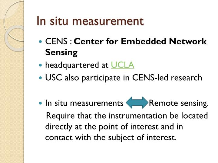 In situ measurement
