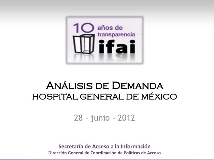 an lisis de demanda hospital general de m xico n.