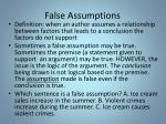 false assumptions