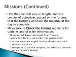 missions continued