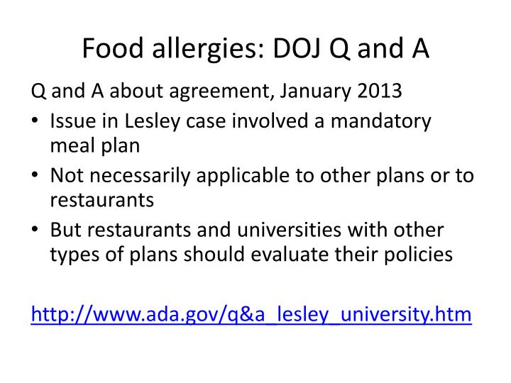Food allergies: