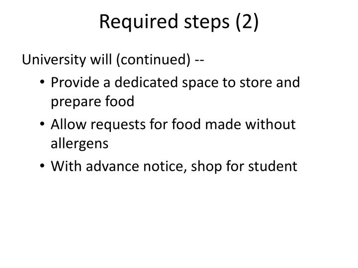 Required steps