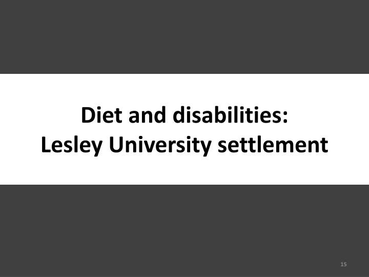 Diet and disabilities: