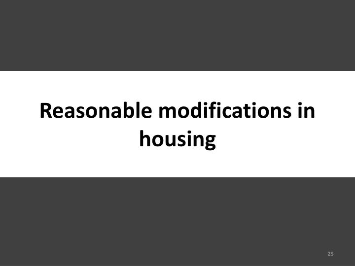 Reasonable modifications in housing