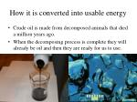 how it is converted into usable energy