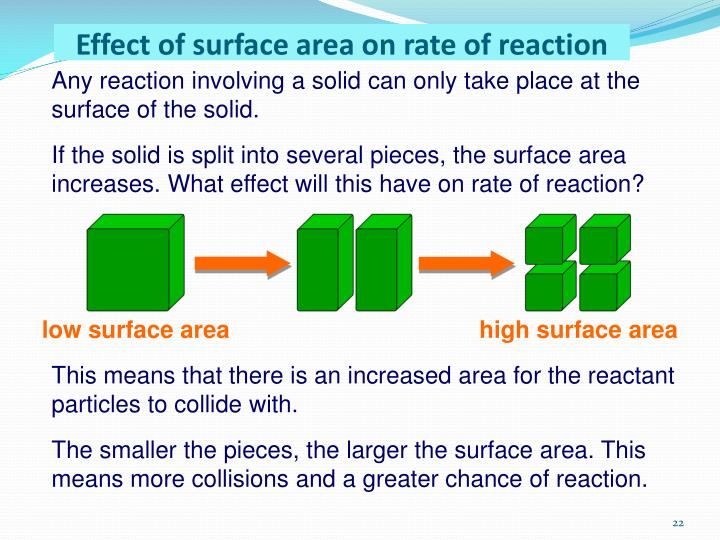 investigating the effects of surface area on the rate of reaction essay By increasing the surface area you are increasing the amount of collisions that will take place in a section of time therefore increasing the rate of reaction.