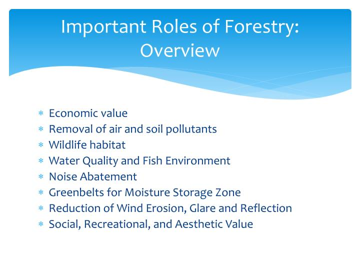 Important Roles of Forestry: Overview