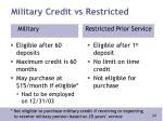 military credit vs restricted