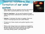 theories related to the formation of our solar system