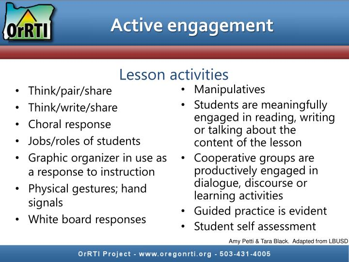 Active engagement