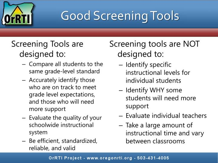 Good Screening Tools