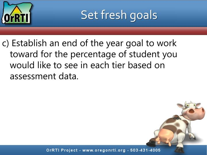 Set fresh goals