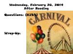wednesday february 26 2014 after reading