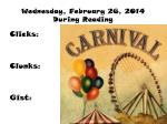 wednesday february 26 2014 during reading