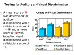 testing for auditory and visual discrimination