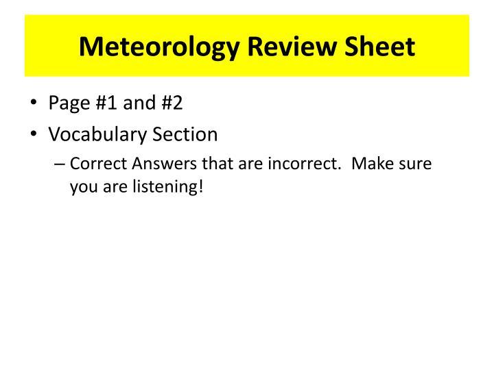 Meteorology Review