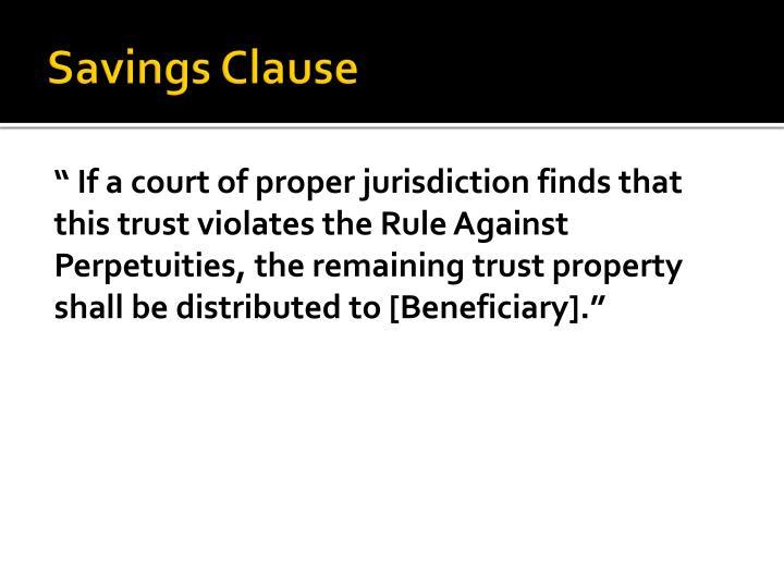 Savings Clause