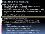 building the meaning uses of the infinitive