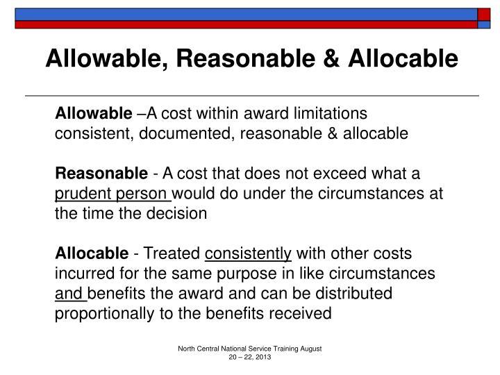 Allowable, Reasonable & Allocable
