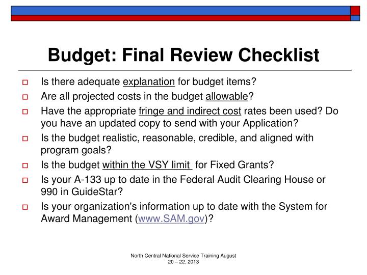 Budget: Final Review Checklist