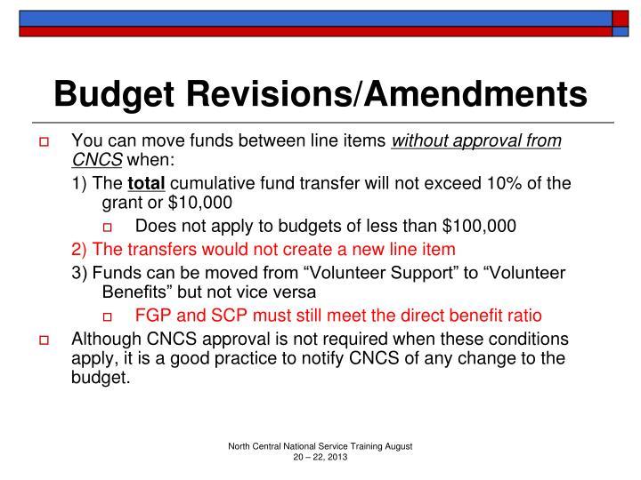 Budget Revisions/Amendments