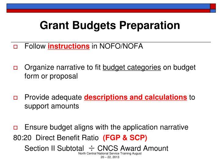 Grant Budgets Preparation