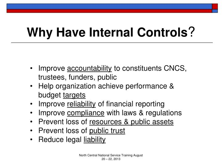 Why Have Internal Controls