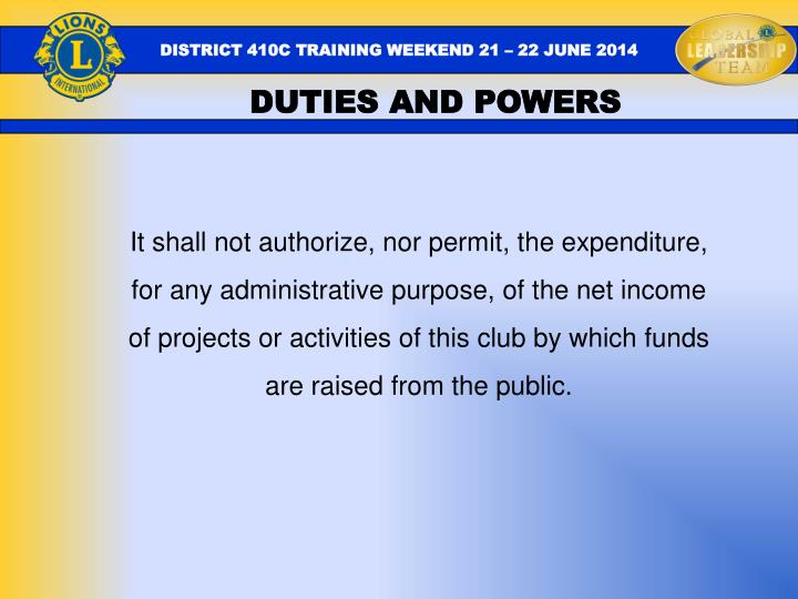 DUTIES AND POWERS