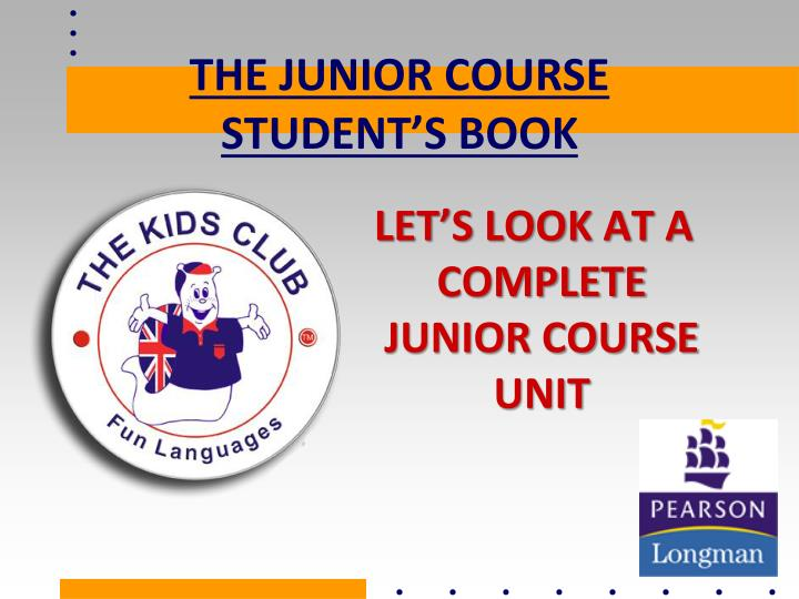 the junior course student s book n.