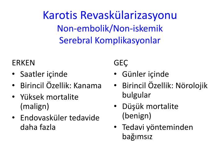 Karotis revask larizasyonu non embolik non iskemik serebral komplikasyonlar