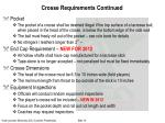 crosse requirements continued