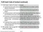 ylm coach code of conduct continued