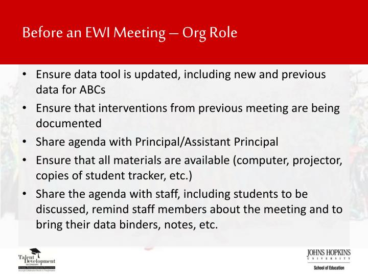 Before an EWI Meeting – Org Role
