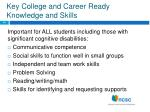 key college and career ready knowledge and skills
