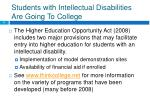 students with intellectual disabilities are going to college