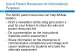 use of parent resources for informational purposes