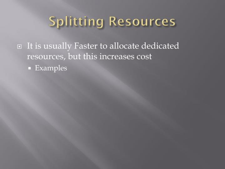 Splitting Resources