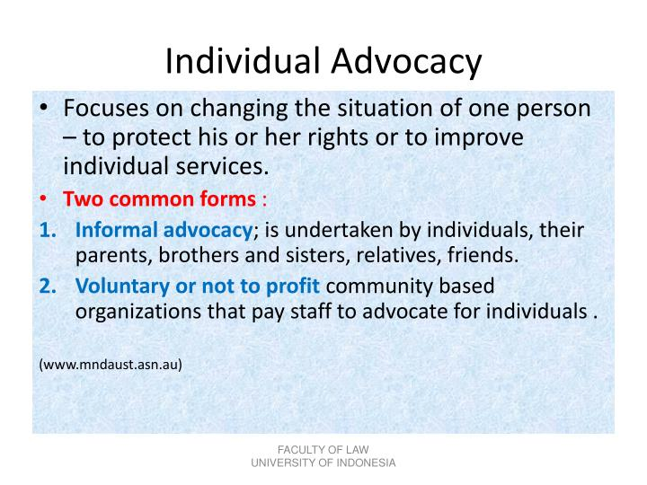 Individual Advocacy