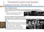 i transitional justice and gender coming to terms with the past