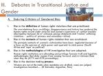 iii debates in transitional justice and gender