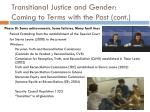transitional justice and gender coming to terms with the past cont