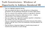 truth commissions windows of opportunity to address gendered hr