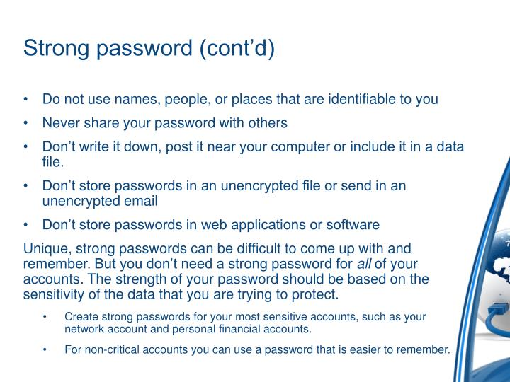 Strong password (cont'd)