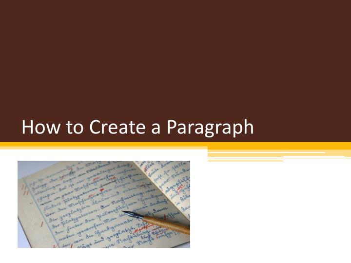 how to create a paragraph n.