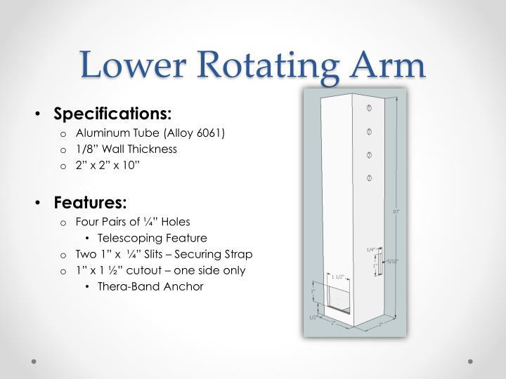 Lower Rotating Arm