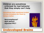 undeveloped brains