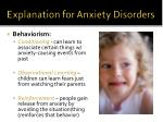explanation for anxiety disorders