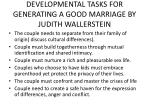 developmental tasks for generating a good marriage by judith wallerstein