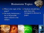 brainstorm topics