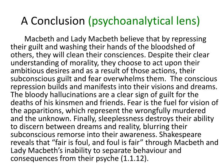 A conclusion psychoanalytical lens